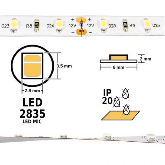 BANDA LED, 2835, IP20, ALB CALD